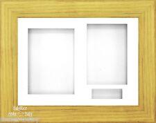29.2x21.6cm Effet chêne 3D Boîte Cadre D'affichage Triple 3 Ouverture Fixation