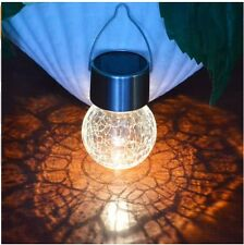 3Pcs Crackle Glass Globe Solar Silver Light with Hanger Solar Pathway Light Set