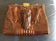 GENUINE VINTAGE CROCODILE TAXIDERMY HANDBAG / PURSE.