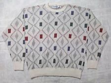 Vintage London Fog 100% Cotton XL Men's Sweater Colorful Diamond Retro Look USA