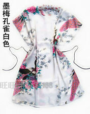 18 Colors Chinese Women's Lady Peony Robe Kimono Bath Gown Nightgown Sleepwear