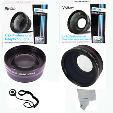 58MM VIVITAR HD .43X Wide Angle + 2.2X Telephoto Lens for CANON T3 T4 T5 XS 20D