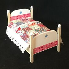 Dollhouse Miniature Bed With Quilt and Mattress Item B27