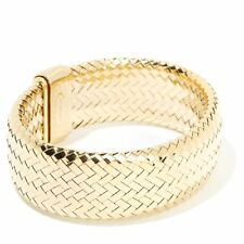 "NEW BELLEZZA BRAIDED YELLOW BRONZE 7"" BANGLE BRACELET HSN $139.90 SOLD OUT"