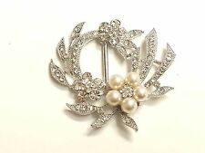MT64- 54mm Pearl & Crystal Diamante Wedding Topper Brooch Ribbon Slider Buckle