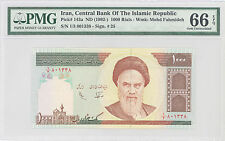 1992 Iran Central Bank of the Islamic Rep 1000 Rials PMG 66 EPQ GEM UNC, P#:143a