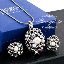 VINTAGE Antique Style SILVER GF Pearl NECKLACE Earrings SWAROVSKI CRYSTAL EX739