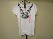 NWT Premise Womens S/S Embroiderd V-Neck Tunic-Small-Bleach White-MSRP-$48.00