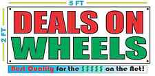 DEALS ON WHEELS Banner Sign NEW Larger Size Best Quality for The $ Car Truck Lot