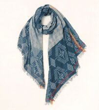 Anthropologie NAVY Blue Boho Geometric Long TRIBAL Rayon Fringe SCARF New