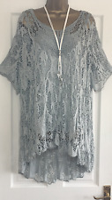 NEW ITALIAN LAGENLOOK 2 PIECE NET FLORAL TUNIC TOP GREY FIT 16 18 20 22 C12
