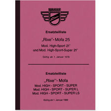 """Rixe High-Sport 21"""" 25 Ersatzteilliste Ersatzteilkatalog Super Mofa LS L 1976-80"""