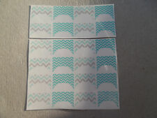 20 WATER SLIDE NAIL ART TRANSFER  DECALS chevron french tip mint and gray
