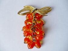 Retro 1940's Costume Jewellery Glass Grapes/Pomegranate Pin Brooch