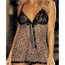 Sexy Lady Lingerie Women's Leopard Underwear Nightwear Dress Babydoll + G-string