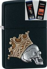 Zippo 29100 skull with crown Lighter with *FLINT & WICK GIFT SET*