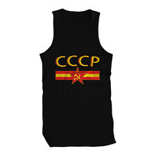 CCCP Hammer Sickle Russia USSR Soviet KHL Moscow Hockey Siberia Mens Tank Top