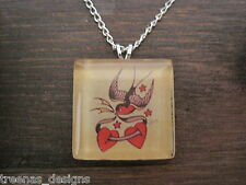*SAILOR JERRY STYLE SWALLOWS LOVE HEART* Glass Tile SP Necklace TATTOO ROCKABILY