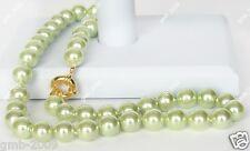 "Fashion Natural Light Green 10mm Akoya South Sea Shell Pearl Necklace 18"" AAA"