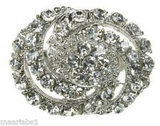 SILVER DIAMANTE FLOWER BROOCH BROACH CAKE SHOE BRIDAL BOUQUET JEWELLERY- NEW-UK