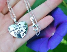 .925 Sterling Silver NECKLACE Life is Simpler at the BARN Charm Horse Lover Gift
