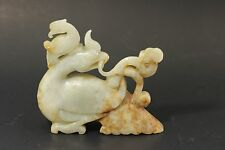 Antique Chinese Carved White He Tian Jade Statue - Circa Qing Dynasty