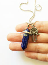 Blue Sodalite Point Necklace Pendant Silver Boho Hamsa Hand Charm Crystal NEW
