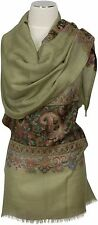 Pashmina Kani Schal,  scarf stole écharpe 100% Wolle wool Olive Paisley edel