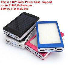Solar Power Bank 5* 18650 Battery Charger Case Dual USB Box 20 LED DIY Kit