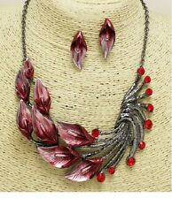 Dark Silver and Red Feathered Crystal FASHION Necklace Set