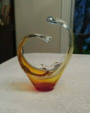 Vintage Murano or Chalet Blown Glass Art Basket Style Vase in Red & Amber