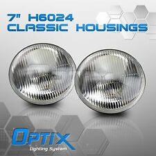"H6024 7"" Round Glass Head Light Housing Conversion Lamp Pair Set - (I)"