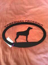 "New Doberman Crossing Black Metal Sign  17"" x 11"""