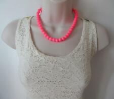 "Beautiful 16"" long bright shiny neon pink 10mm glass bead necklace  * NEW"