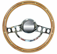 1932 & up Ford Truck w/GM Column Chrome & Riveted Alder Wood Steering Wheel Kit