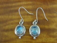 Rainbow Moonstones Dangle Sterling Silver 925 Pierced Wire Earrings