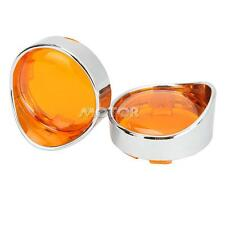 Chrome Visor-Style Turn Signal Bezels w/ Amber Lens for Harley Softail Sportster