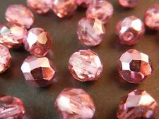 30Pc 8mm Hot Pink Metallic Plated Fire Polished Czech Glass Faceted Round Beads