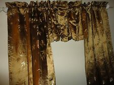 SUITE 109 ASIAN BAMBOO BROCADE BRONZY GOLD SATIN (4PC) PANELS AND VALANCES