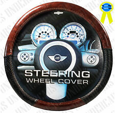 New Wood Grain Design Black Car Steering Wheel Cover