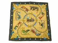 Authentic Excellent HERMES Scarf 100% Plumes et Grelots Khaki Yellow 35385