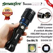 6000 Lumens 5 Modes Zoomable CREE XM-L T6 LED 18650 Flashlight Torch Focus Lamp