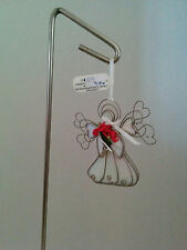 "New Stained Glass Angel Ornament 3 1/2"" with clear beads"