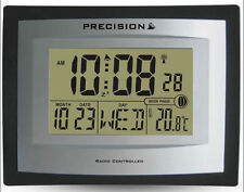 Precision Alarm Wall Table Clock Radio Controlled Digital Moon Temp PREC0103