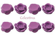 15 x Rose Resin Flat Back Cabochon Flowers 18mm x 8mm - Light Purple  - CAB10