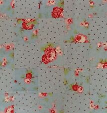 Cath Kidson Fabric Material 25 Patchwork Squares 10x10cm Blue Rose & Spot Sew