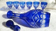Cobalt Blue Cut To Clear Decanter with 6 Glasses