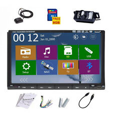 7'' HD Double 2DIN GPS Car Stereo DVD Player In-dash Radio Bluetooth iPod+Camera
