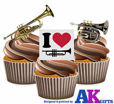 I Love Trumpet Mix 12 Edible Stand Up Cup Cake Toppers Blues Jazz Decorations