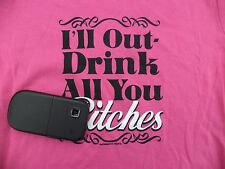 Spencers Hot Pink & Black Ladies Drinking shirt top size M Out drink Beer SASSY